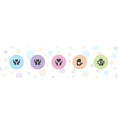 5 giving icons vector