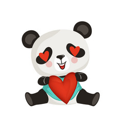 Adorable panda holding red heart cute enamored vector