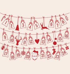 Advent calendar with christmas bags set vector