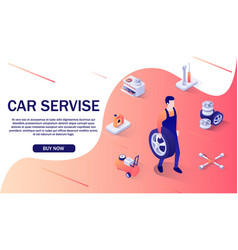 advertising banner for car service and online shop vector image
