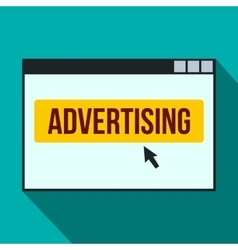 Advertising on a computer monitor icon flat style vector image