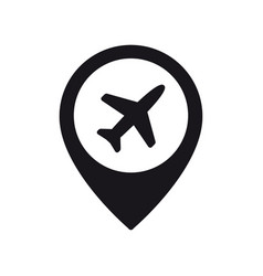 airplane in location pin symbol plane aircraft vector image