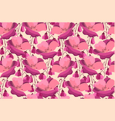Art floral seamless pattern pink flowers vector