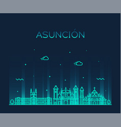 asuncion skyline paraguay city linear style vector image