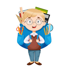 Back to school cute schoolboy with big backpack vector