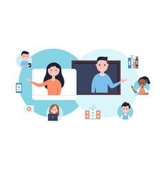 Blended learning education approach teachers vector