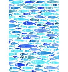 Blue color school ocean fish watercolor vector