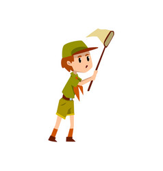 Boy scout character in uniform catching vector