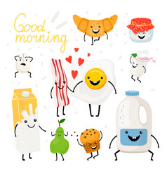 breakfast food characters set vector image