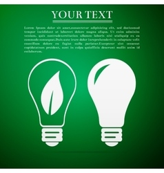 Bulb flat icon on green background vector