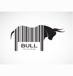 bull on the body is a barcode wild animals bull vector image