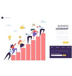Business leader help team reaching up website vector
