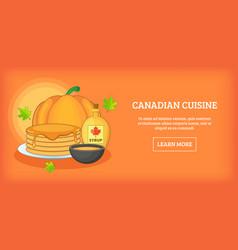 Canadian cuisine horizontal banner cartoon style vector