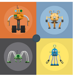 cartoon mechanical steel robots set vector image