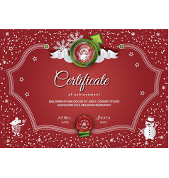 Christmas red certificate with santa claus and vector