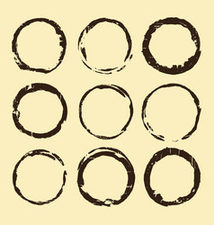 coffee stain set brown ring blots isolated vector image