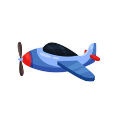 cute bright blue plane aircraft with propeller vector image