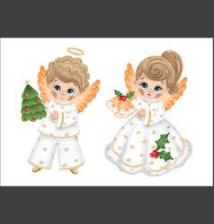 Cute cartoon angels boy and girl vector
