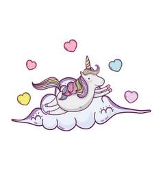 Cute fairytale unicorn with hearts in cloud vector