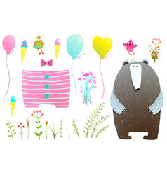 Dress and items for bear clipart set vector