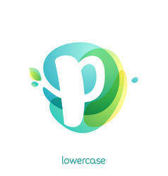 ecology lowercase letter p logo overlapping vector image