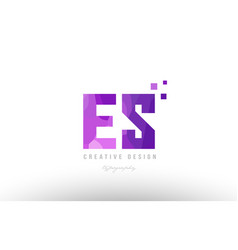Es e s pink alphabet letter logo combination with vector