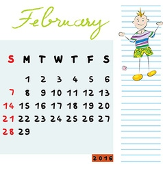 february 2016 kids vector image