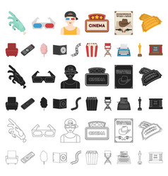 films and cinema cartoon icons in set collection vector image