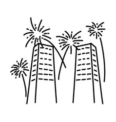 fireworks loud icon doodle hand drawn or outline vector image