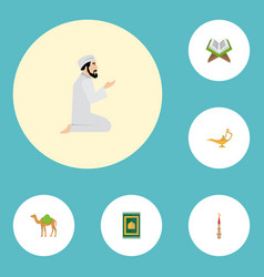 Flat icons prayer carpet genie mosque and other vector