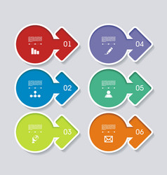 flat set arrows with icons simple internet vector image