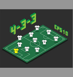 Football 4-3-3 formation with isometric field vector