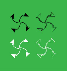 Four arrows in loop from center icon black and vector