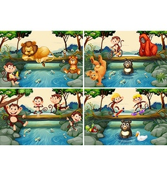 Four scenes with wild animals in river vector