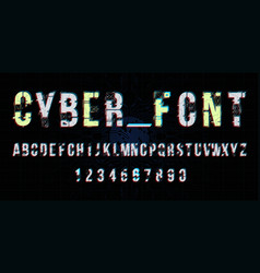 Futuristic font design letters and numbers vector