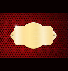Golden plate on red perforated background vector