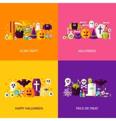 Halloween party concepts set vector