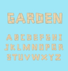 hand drawn wooden alphabet vector image