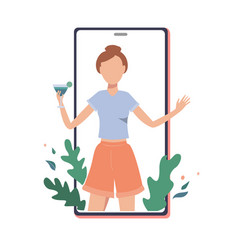 Happy girl with cocktail on phone screen vector