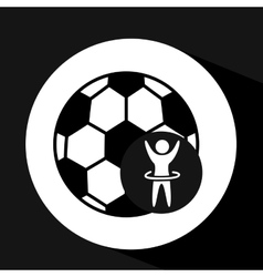 happy man silhouette ball soccer sport icon flat vector image