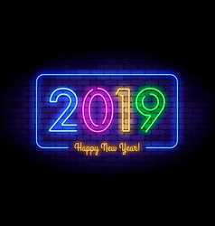 Happy new year 2019 in colorful trend vector
