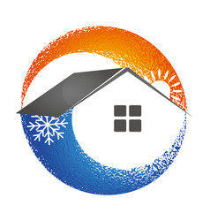 Heating and cooling house symbol vector