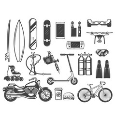 hobby and entertainment items or devices sketches vector image