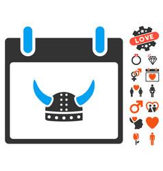 horned helmet calendar day icon with lovely bonus vector image