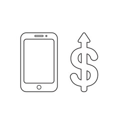 Icon concept smartphone with dollar arrow vector