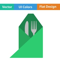 Icon of fork and knife wrapped in napkin vector