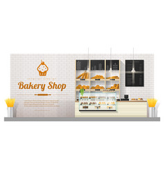 Interior background with modern bakery shop vector