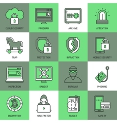 Internet Security Square Icon Set vector