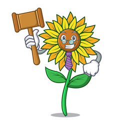 judge sunflower mascot cartoon style vector image