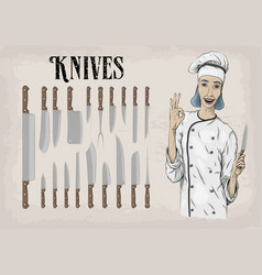 kitchen tools utensils equipment ware set knives vector image